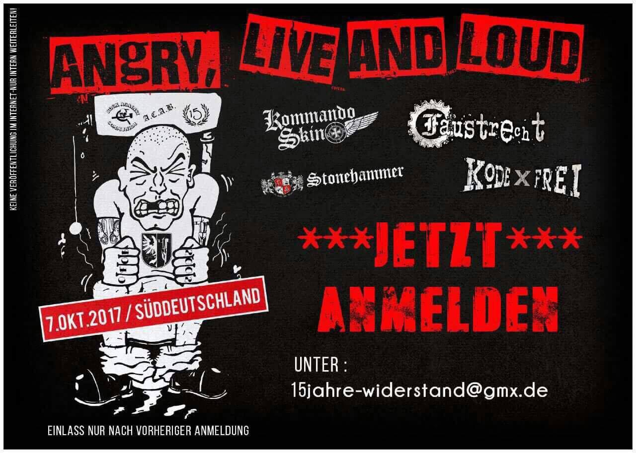 »Angry, Live And Loud«: Das geheime Flugblatt zum Konzert, das Allgäu ⇏ rechtsaußen am Tag vor dem Konzert veröffentlichte.