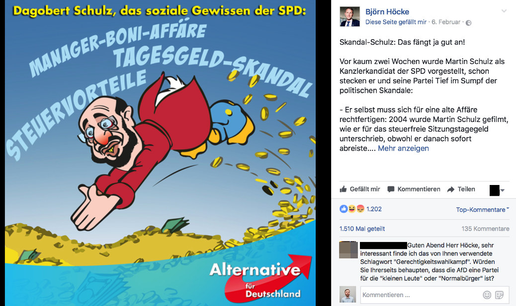 Diese antisemitisch überzeichnete Figur Martin Schulz' postet Björn Höcke auf seiner Facebook-Seite. Es wird über 1500 mal geteilt (Screenshot Facebook)