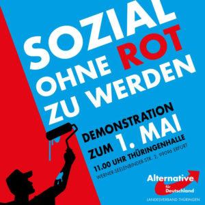 Ist dieses Plakat der Thüringer AfD ein Werk von Jirka Buder? Die Mütze des Streichers erinnert eklatant an die Kopfbedeckung von Hitlers SA.