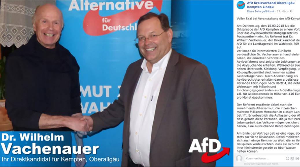 So berichtet die AfD auf Facebook über einen Vortrag von Wilhelm Fachenauer und Walter Freudling zum Asylbewerberleistungsgesetz. Tatsächlich spielte die AfD bei der Wahlkampfveranstaltung soziale Misstände gegen Geflüchtete aus und bediente sich ich beim Sozialpopulismus des völkischen Flügels der AfD.