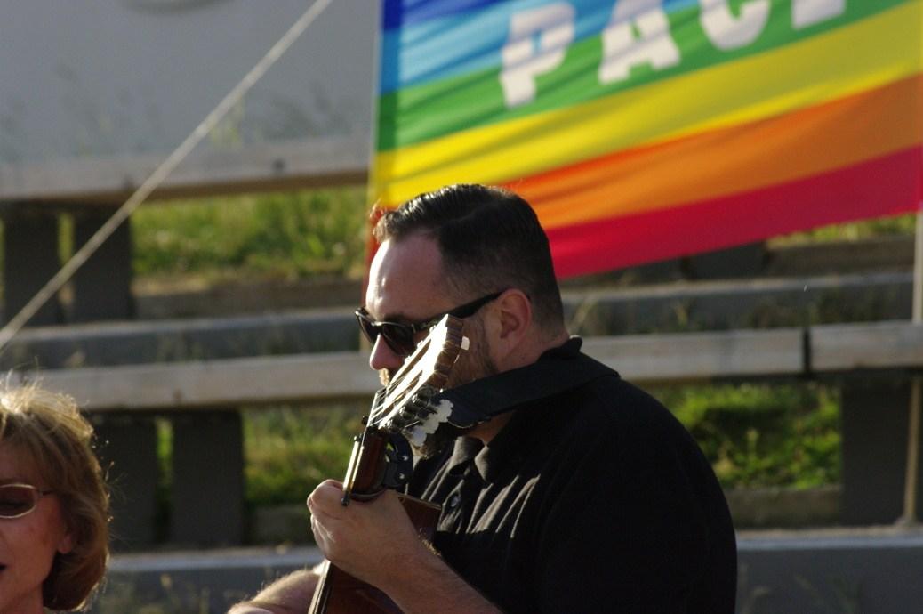 Jirka B. 2014 auf sogenannter Friedensmahnwache in Kempten ©S. Lipp
