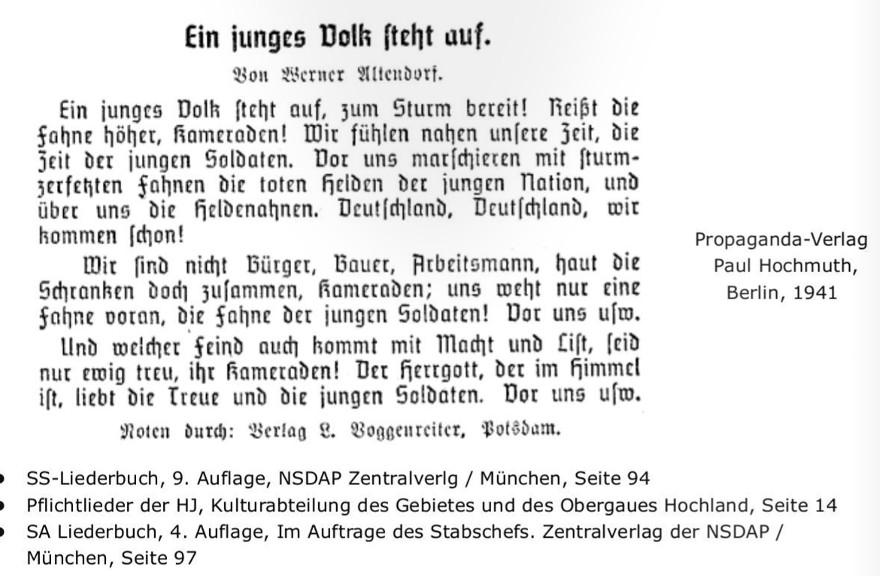 Nazi-Lied Ein junges Volk steht auf. In der Interpretation der Band Hauptkampflinie wurde der christlich-mythologische Bezug durch einen germanischen ersetzt, aus »Himmel« wurde »Walhalla«. Ausriss aus einerExpertise des apabiz.