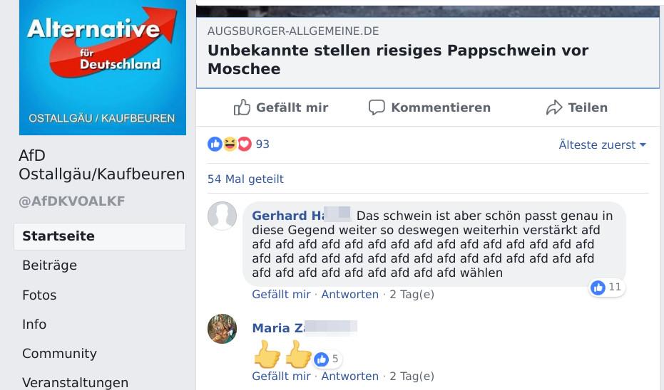 Bei der AfD Kaufbeuren/Ostallgäu wird die Aktion gefiert. (Screenshot)