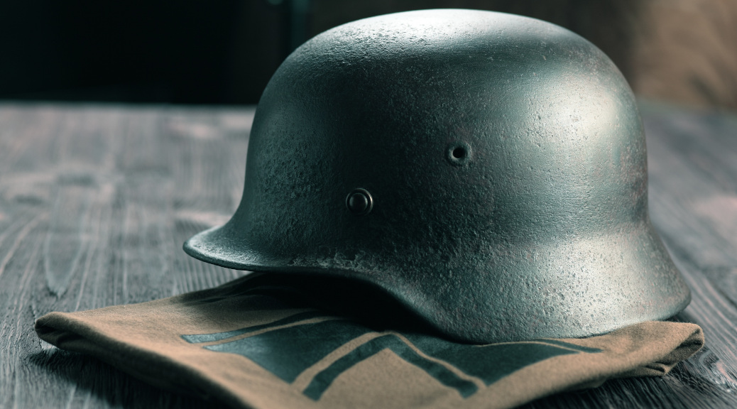 Rusty german army helmet from second world war.