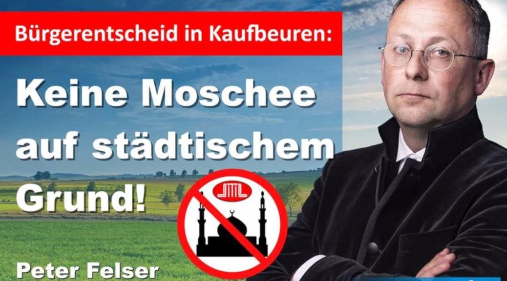 Feter Felser äußert sich auf Facebook zum Bürgerentscheid gegen die Moschee in Kaufbeuren (Screenshot)