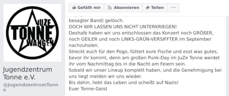 Das Jugendzentrum Tonne in Wangen hat die Metal-Band Me Against The World wegen der AfD-Mitgliedschaft des Sängers ausgeladen. Im September soll das Konzert mit anderen Musikern nachgeholt werden.