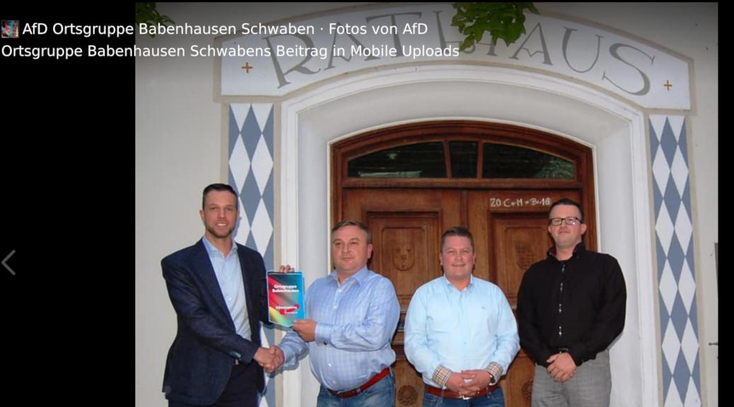 Am 31. August 2018 gründet die AfD Unterallgäu eine Ortsgruppe in Babenhausen. Im Anschluss posiert Landtagskandidat Christop Meier mit Roman und Peter Zebe, den Sprechern des neuen Verbandes, und Bezirkstagskandidat Thomas Wagenseil vor dem Rathaus.