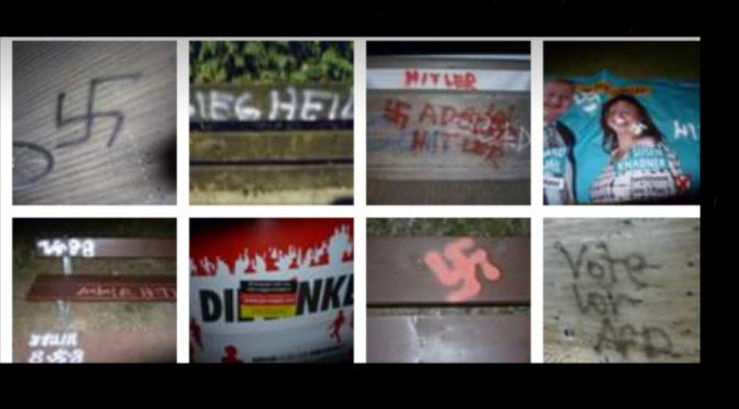 Eine Vielzahl von Nazi-Symbolen sowie Bezüge zur AfD und Islamfeinden sprühen bislang Unbekannte in der Nähe einer Brücke nach Neugablonz.