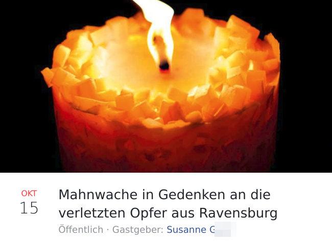 Mobilisierung für die plötzlich vermeintlich unpolitische »friedliche Mahnwache für die drei Opfer der Messerstecherei in Ravensburg«. (Screenshot: Facebook)