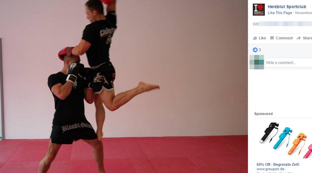 Kämpfer trainiert in Blood&Honour Shorts beim Sportclub Herzblut in Memmingen.