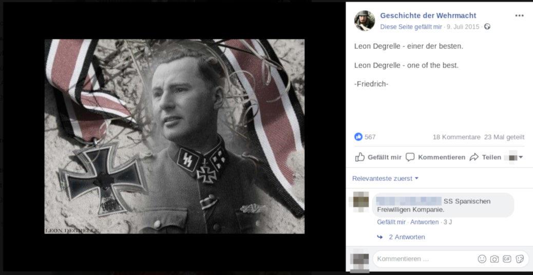 Thomas Wagenseil setzte sein »like« zu einem Bild, das einen Offizier der Waffen-SS in heroischer Pose zeigt. (Screenshot Facebook)