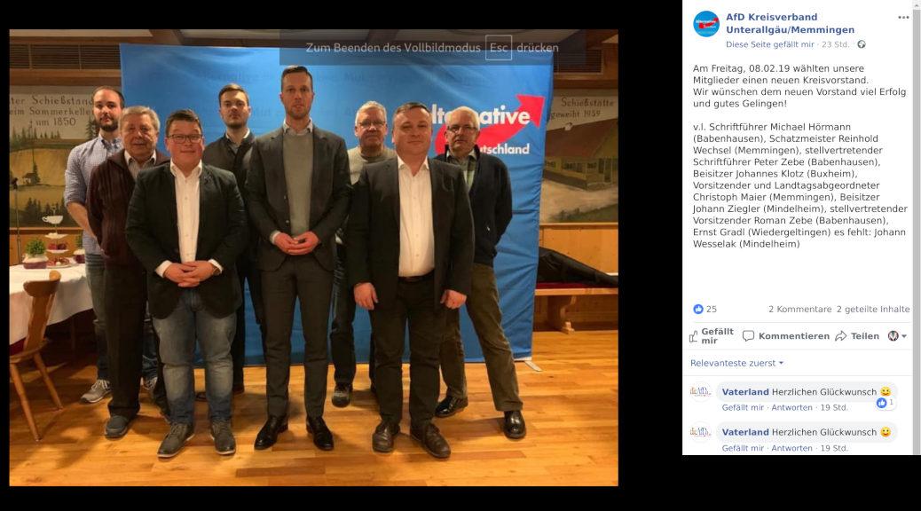 Der AfD-Kreisverband Memmingen/Unterallgäu wählt am 8. Februar 2019 einen neuen Kreisverband - und ersetzt den umstrittenen Thomas Wagenseil.