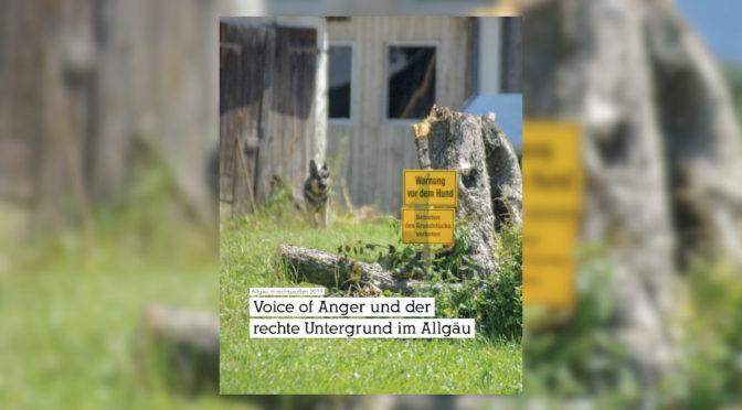 Unterstütze unsere Recherche über Voice of Anger und den rechten Untergrund im Allgäu