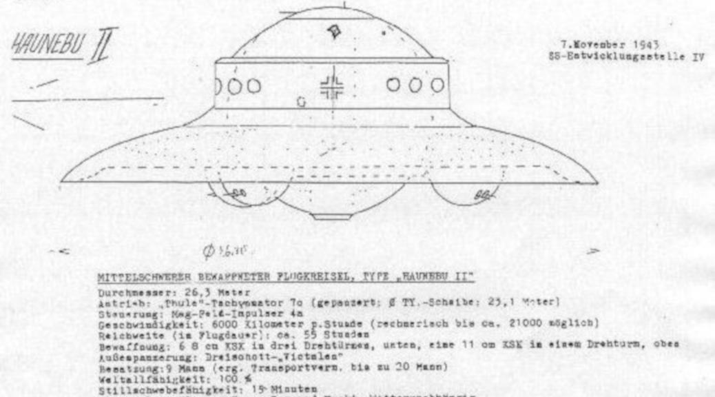 »Mittelschwerer bewaffneter Flugkreisel, Type ›Haunebu II‹«: angebliche Konstruktionspläne der SS dienen dem Verlag aus dem Allgäu als Quelle. (Aus dem Archiv von allgaeu-rechtsaussen.de)