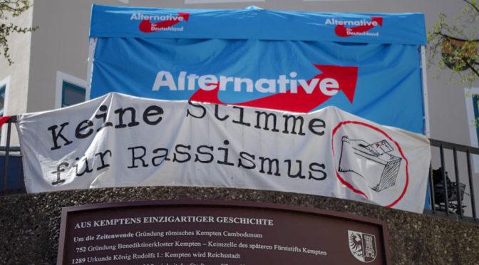 Spontaner Protest gegen AfD-Wahlkampfauftakt