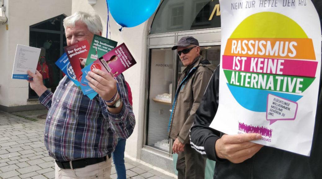 Der letzte Wahlkampfinfostand der Allgäuer AfD in Kempten wird erneut von Protest begleitet.