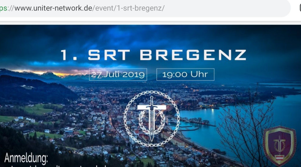 Uniter bewirbt den »1. SRT Bregenz« am 27. Juli 2019. (Screenshot)