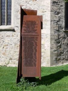 Mahnmal zum Gedenken an die 29 in Auschwitz ermordeten Sinti aus Ravensburg. Die Insassen des sogenannten Zigeunerzwangslager in Ravensburg wurden im März 1943 in das neu eingerichtete »Zigeunerlager Auschwitz« deportiert; nur wenige überlebten.