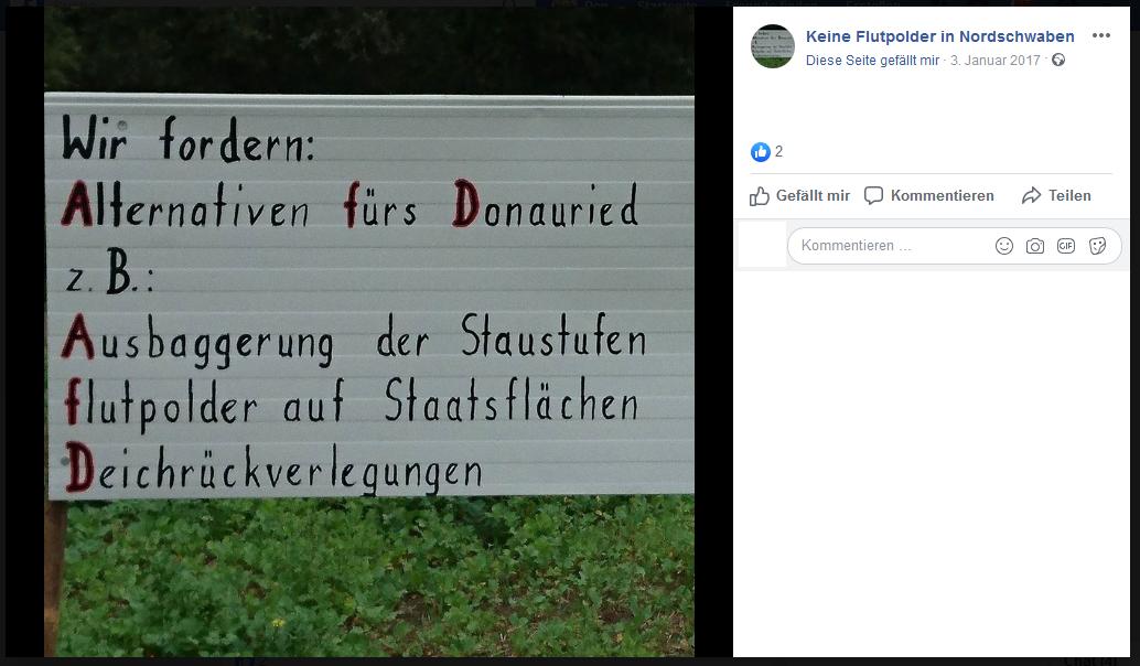 Um unterschwellig Werbung für die AfD zu machen, ignorieren die Flutpolder-Aktivisten auch gerne die Rechtschreibung. (Screenshot, Facebook)
