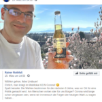 Am Tag der bayerischen Kommunalwahl verharmlost Rainer Rothfuß mit einem Bier der Marke Corona die gleichnamige Pandemie, um zur Wahl aufzurufen. (Screenshot Facebook)