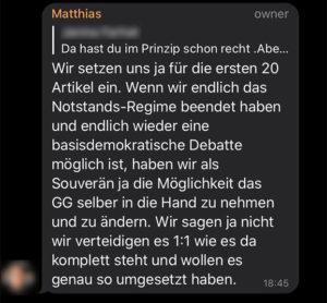 Matthias B. möchte das Grundgesetz nicht in der aktuellen Fassung umgesetzt haben.