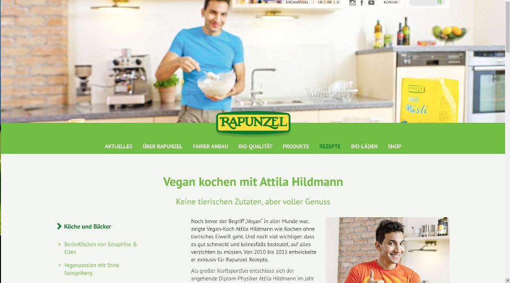 Prominent und vielfach platziert das Rapunzel-Marketing den umstrittenen Koch-Star Attila Hildmann auf ihren Homepages. (Screenshot)