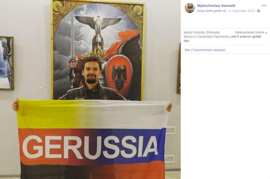 Eine reichsbürger-typisch gestürzte Deutschlandfahne verschmilzt mit einer russischen: So stellt sich Wjatscheslaw Seewald die Flagge seines »slawisch-arischen« Bündnisses vor. (Screenshot Facebook)