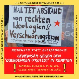 Das SJZ react!OR und Kempten gegen Rechts wollen am Samstag »gemeinsam gegen den Querdenken-Protest in Kempten demonstrieren.