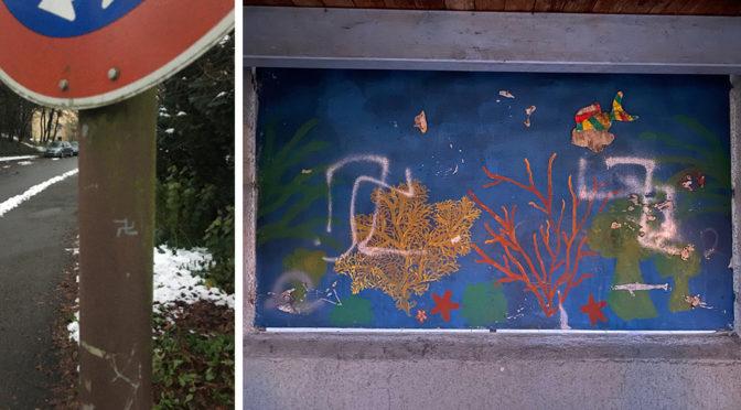 Hakenkreuze an einer Laterne in der Schießplatzstraße und auf einem Wandbild beim DRK-Kinderhaus Bullerbü in Weingarten.