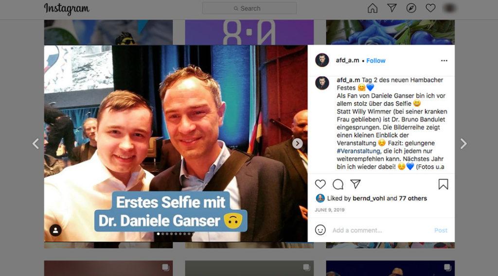 Verschwörungsideologe Daniele Ganser beim Neuen Hambacher Fest mit seinem Fan von der AfD, Arniko Meinhold.