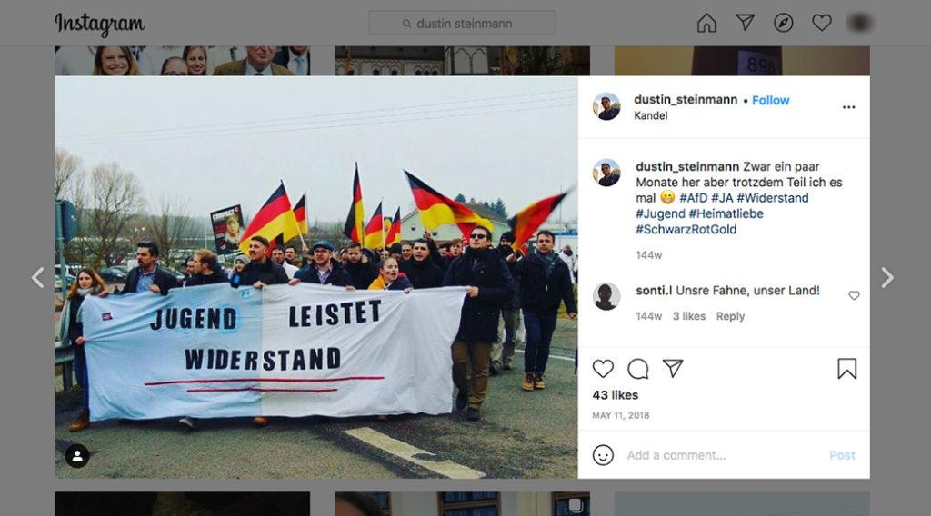 Dustin Steinmann und Pascal Bähr marschieren zusammen mit der Identitären Bewegung in Kandel.
