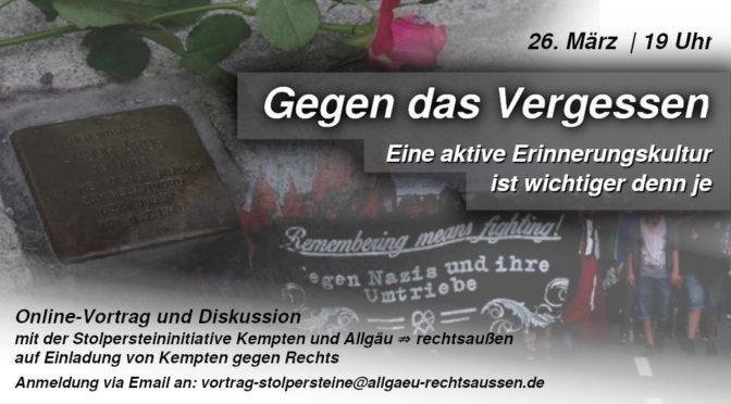 Gegen das Vergessen: Online-Vortrag für eine lebendige Erinnerungskultur