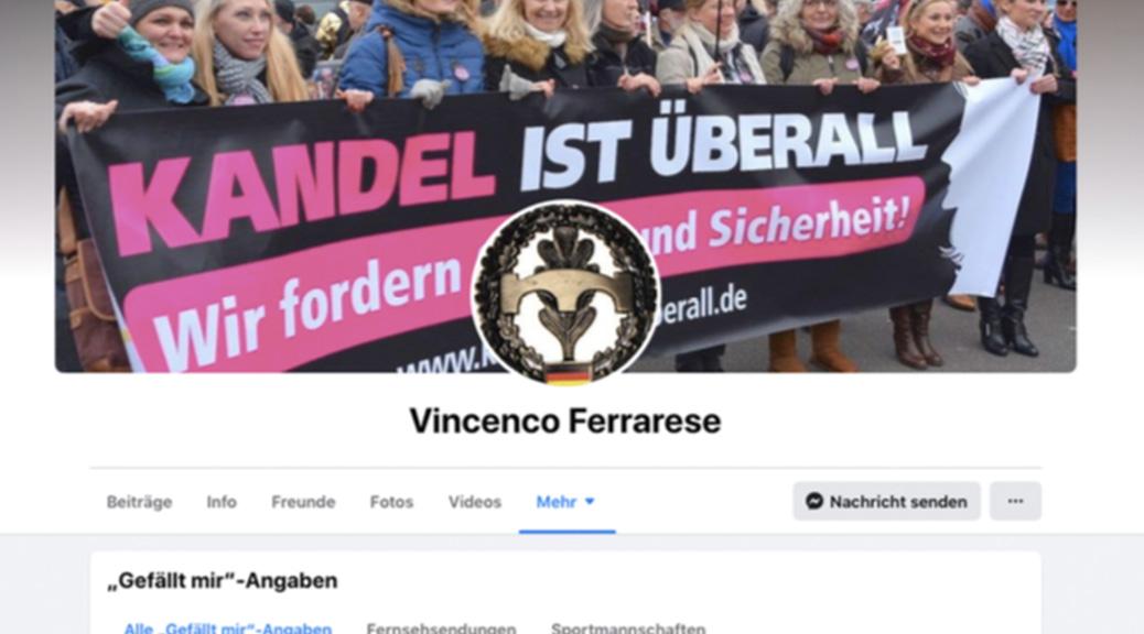 Ferrareses Facebook-Profil ziert das Transparent eines rechtsradikalen Bündnisses.