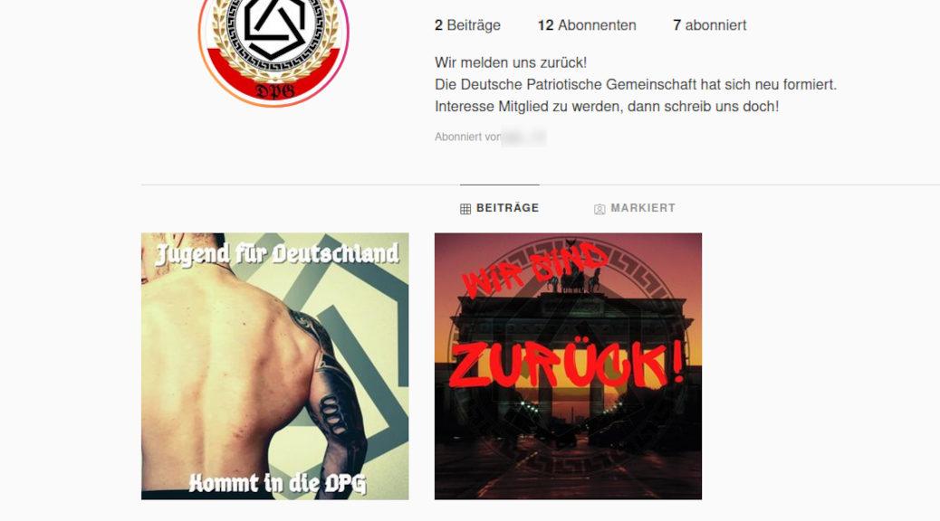 Nach der Recherche von Belltower.News meldet sich die Deutsche Patriotische Gesellschaft (DPG) mit einem neuen Profil auf Instagram zurück. Wieder wirbt ein Profilbild von Patrick G. für sie.